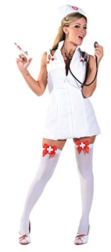 Costumes Adult Care Intensive (Underwraps Womens Sexy White Medical Nurse Intensive Care Halloween Costume, L)