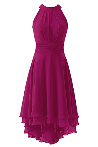 Kevins Bridal Women's High Low Short Bridesmaid Dresses Chiffon Halter Prom Dress Fuschia Size 2
