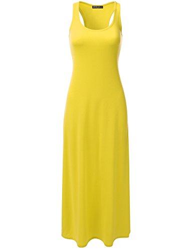 DRESSIS Womens Round Neck Sleeveless Racerback Maxi Tank Dress Yellow M