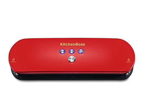 KitchenBoss Vacuum Sealer, Automatic Vacuum Sealing System for Dry & Moist Foods Preservation - Latest Model with Starter Vacuum Bags (Silver)