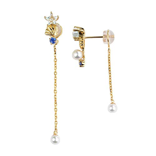 Unique 18-karat gold, five-pointed star, sapphire stud, sapphire pearl and long ear thread birthday gift present stud earrings for women