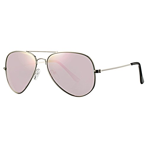 COASION Classic Aviator Sunglasses for Men Women, Polarized Mirror Lens, 100%UV Protection with Leather Case (Silver/Pink - Aviator Junior