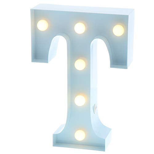 """Barnyard Designs Metal Marquee Letter T Light up Wall Initial Nursery Letter, Home and Event Decoration 9"""" (Baby Blue) by Barnyard Designs"""
