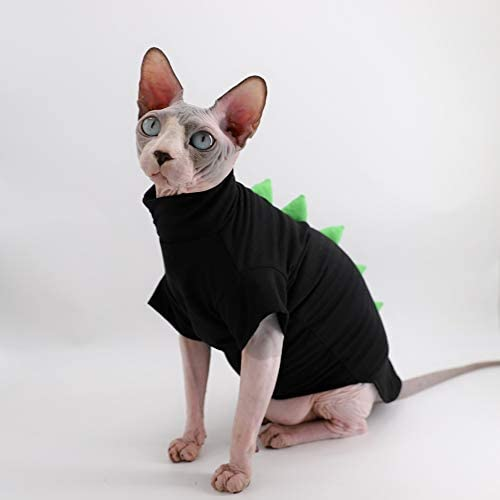Dinosaur Design Sphynx Hairless Cat Clothes Cute Breathable Summer Cotton Shirts Cat Costume Pet Clothes,Round Collar Kitten T-Shirts with Sleeves, Cats & Small Dogs Apparel 20