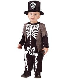 Fun World Costumes Boys Skeleton Classic Small Halloween Costume, White/Black, 24 Months-2T]()