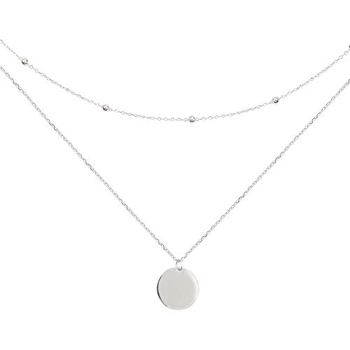 (Layered Disc Pendant Choker Necklace for Women Girls 925 Sterling Silver 18K Gold Dainty Full Moon Circle Coin Collar Two-Double Chain Fashion Y Jewelry Best Gifts Box Birthday Wedding (Silver))