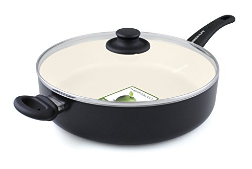 "GreenLife Soft Grip 12"" Ceramic Non-Stick Covered Jumbo Sauté Pan, Black"