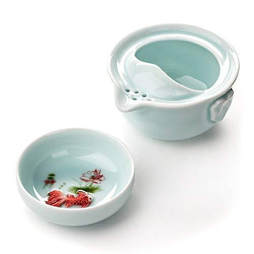   Teacup & Saucer Sets   Celadon Teapot Travel Teacup Ceramic Fish Cup Kettle Ceramic Portable Travel Tea Set Friend Gifts 1 Gaiwan 1 Cup porcelain D038   by AQANATURE