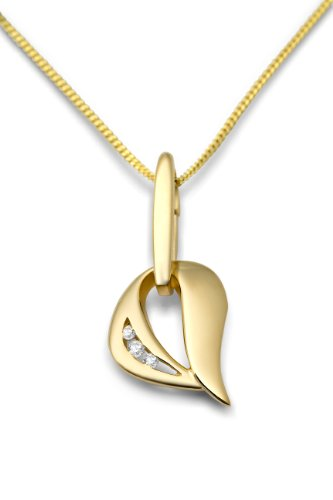 Miore - MM9048ZN - Collier avec Pendentif Femme - Coeur - Or jaune 375/1000 (9 carats) 2.5 gr - Oxyde de zirconium