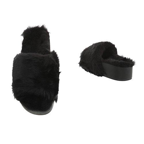 Pantoletten Damenschuhe Ital-Design Sandalen & Sandaletten Schwarz 836-1