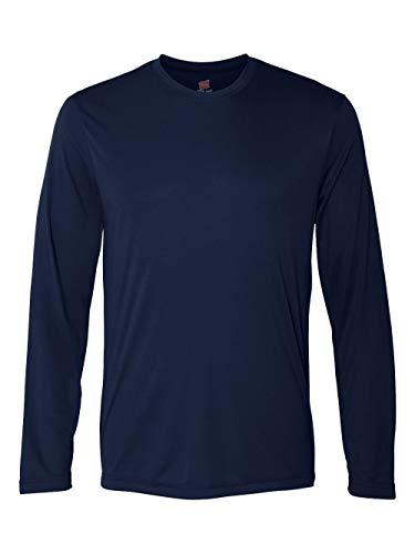 Hanes Men's Long Sleeve Cool Dri T-Shirt UPF 50+, Medium, 2 Pack ,Navy -