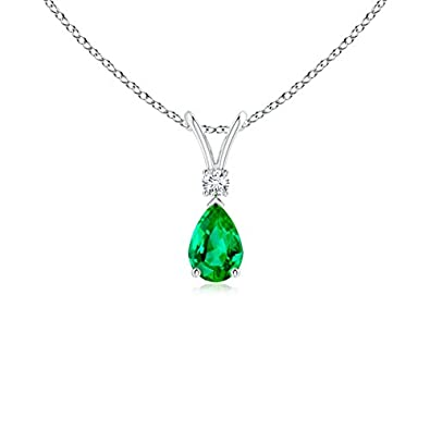 Angara Emerald Teardrop Pendant in Platinum B8QxB