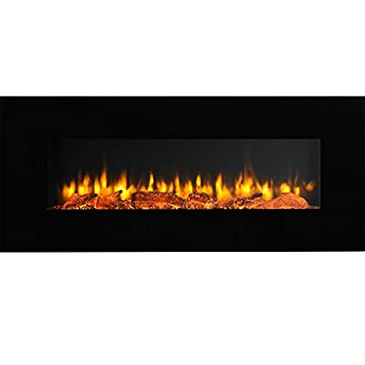 "PuraFlame Serena 50"" Wall Mounted Linear Electric Fireplace, Log Set, Remote Control, 1500W, Black"