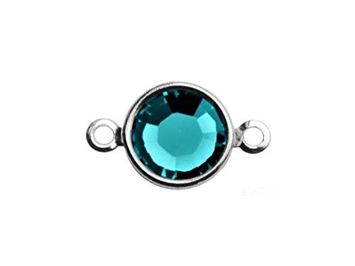 10 pc Swarovski Birthstone Channel Links Silver Plated - Choose your COLOR 6mm Stone CLK6S-XXXX10 swarovski birthstones (Blue Zircon - DEC)