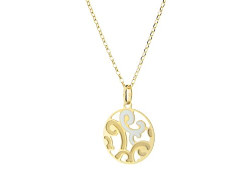 Fronay Co Estruscan White Swirls Disc Necklace in Sterling - Galleria Macys