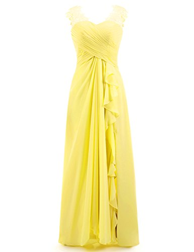 Miao Duo Women's Maxi Lace Applique Sweetheart Bridesmaid Dresses Long Straps Wedding Party Gowns Lemon Yellow 10
