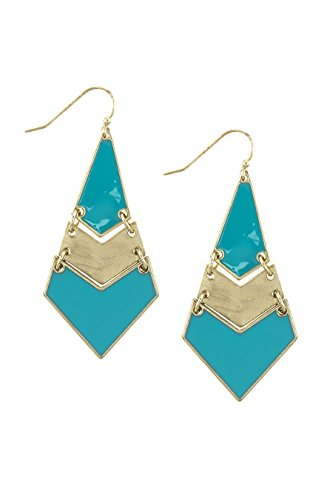 THE JEWEL RACK COLORED GEOMETRIC DANGLING DIAMOND EARRINGS (Turquoise) (Avon Earrings Dangling)