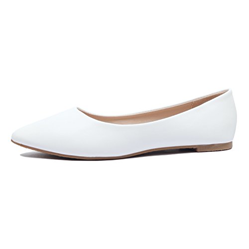 Guilty Shoes Womens Classic Pointy Toe Ballet Slip On - Casual Comfortable Flats White Pu