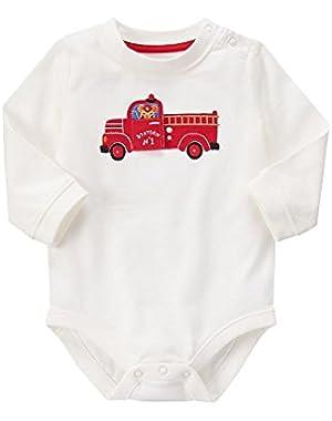 Baby White Firetruck Bodysuit