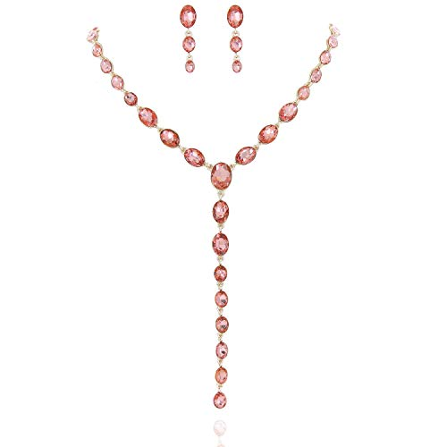 - SP Sophia Collection Y Women's Jewelry Descending Oval Drop Necklace and Earrings Set in Gold Peach