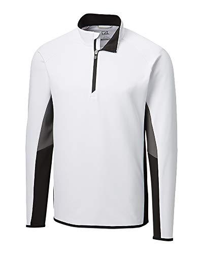 Cutter & Buck MCK00136 Men's Traverse Colorblock Half Zip Sweater, White - L