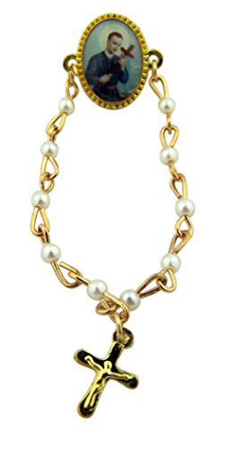 Gold Tone and Epoxy Saint Gerard Rosary Lapel Pin, 2 3/4 Inch