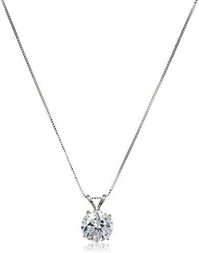 """14k Gold Cubic Zirconia Solitaire Pendant Necklace, 18"""""""