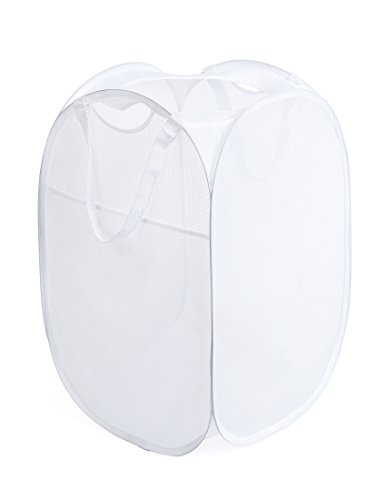 Deluxe Laundry Hamper - PRO-MART DAZZ Deluxe Mesh Pop-Up Laundry Hamper with Side Pocket and Handles, White