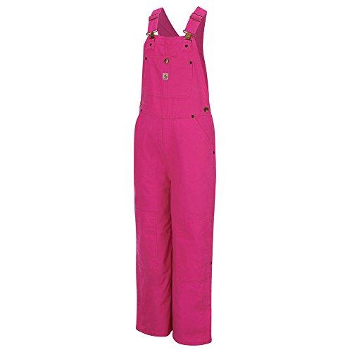Carhartt Little Girls' Pink Duck Bib Overall Lined, Raspberry Rose, 4 by Carhartt
