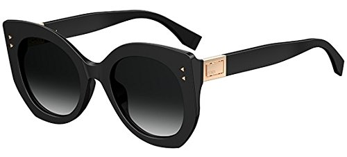 Fendi Women's Riveted Sunglasses, Black/Dark Grey, One Size by Fendi