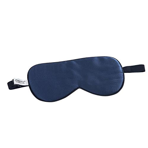 ZIMASILK 100% Natural Silk Sleep Mask,Adjustable Super-Smooth Soft Eye Mask for Sleep,12 Color Option(Navy Blue)