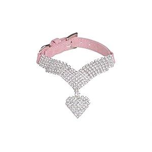 EXPAWLORER Rhinestone Dog Collar Pet Puppy Cat Crystal Collars Girl Jeweled Necklace Pink Small