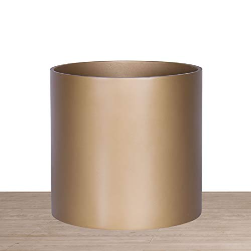 Indoor 10 Inches Round Modern Planter Pot - Bronze - Easy Grow Fiberglass Resin Planter with Drainage Hole and Plug - by D'vine ()