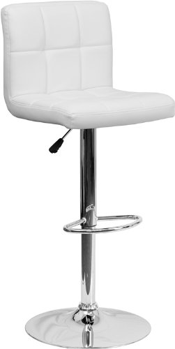 Contemporary Quilted Vinyl Adjustable Height Barstool with C