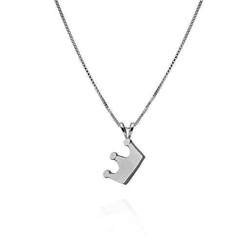 14k 50th Anniversary Charm - 14k White Gold Princess Crown Necklace Pendant Friendship charm Gift Jewelry