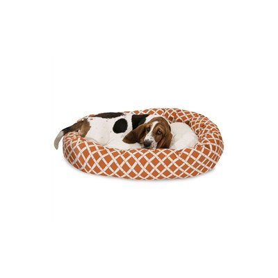 32 inch Burnt orange Bamboo Sherpa Bagel Dog Bed by Majestic Pet