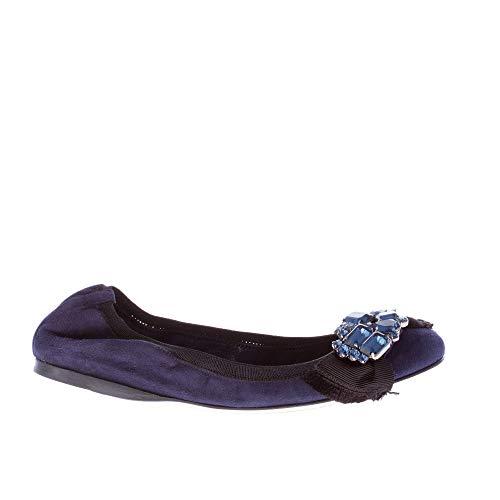 miu Nero e Blu Fiocco miu Tessuto Gioiello Blu Ballerina con in camoscio in rqrvznH7