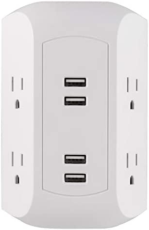 GE 4 Outlet, 4 USB Surge Protector Wall Outlet Power Adapter, for iPhone 11 Pro Max XS XR X 8, iPad Pro Air Mini, Samsung Galaxy, Google Pixel, White, 43651