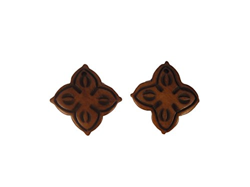 Shell Flower Pendant (Natural Brown Flat Vajra Flower Shaped Hand Carved Yak Bone Pendant Charm - Pack of 2 - Eco-friendly Fair Trade)