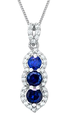 Simulated Blue Sapphire & Natural Diamond Past Present Future Pendant in 10K Solid White Gold (1/5 cttw)