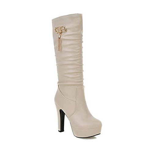 Top Toe Mid Closed High Boots Round On Pull Solid Women's AgooLar Beige Heels qEw844