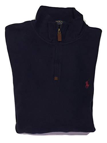 Polo Ralph Lauren Men's Half Zip French Rib Cotton Sweater (X-Large, Cruise Navy)