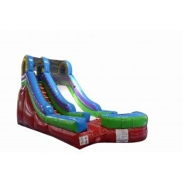- TentandTable Inflatable 15-Foot High, 24-Foot Long, 12-Foot Wide Single Bay Lane Retro-Colored Red, Green and Blue Wet or Dry Slide Combo with Stakes and 1.5 HP Blower