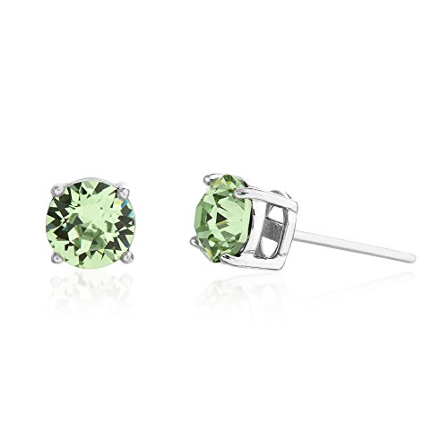 Crystal Ring Peridot Swarovski (Devin Rose 6mm Round Solitaire Stud Earrings for Women Made with Swarovski Crystals in Rhodium Plated 925 Sterling Silver (Crystal Peridot Imitation August Birthstone))