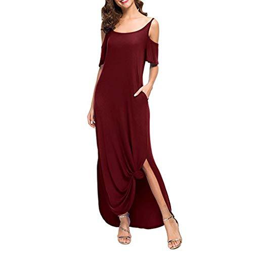 (NANTE Top Casual Loose Dress Strapless Strap Cold Shoulder Split Maxi Long Dresses Sundress Beachwear Length Skirt (XL, Red))