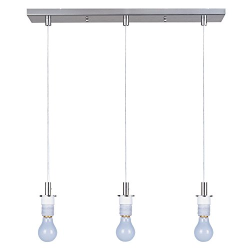 - ET2 ES92003-SN Carte 3-Light Pendant Frame Pendant System, Satin Nickel Finish, Glass, MB Incandescent Bulb, 8W Max., Dry Safety Rated, 2700K Color Temp., Bubble Glass + Acryl Shade Material, 1260 Rated Lumens