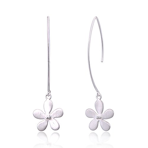 6 cm Plumeria Flower Dangle Wire Hook Earrings Matte Finish (Plumeria Flower Earrings)