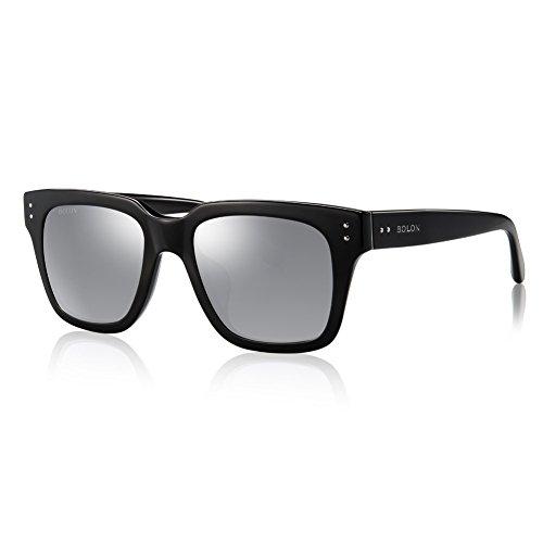 BOLON BL3005 Men's Nylon Greyish White HD Polarized Mirror Lens D Shape Acetate - Sunglasses Bolon