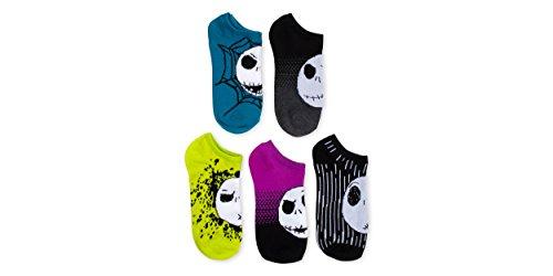 Nightmare Before Christmas 5 Pk No Show Socks,mens shoe 6.5-12,Ladies Shoe Size 9-11 (Christmas Men)