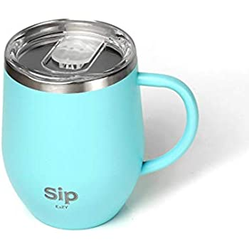 964f99b1f3d ... Stainless Steel Insulated MUG/CUP with HANDLE & LID 12oz- Keeps Drinks  Hot or Cold for many hours - COFFEE, TEA, BEER, WATER, WINE - Free Silicone  Straw ...